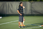 Wake Forest Demon Deacons head coach Tony da Luz watches his team warm-up prior to their match against the Tennessee Volunteers at W. Dennie Spry Stadium on the campus of Wake Forest University on August 23, 2018 in Winston-Salem, North Carolina.  The Demon Deacons and the Volunteers played to a 1-1 draw.
