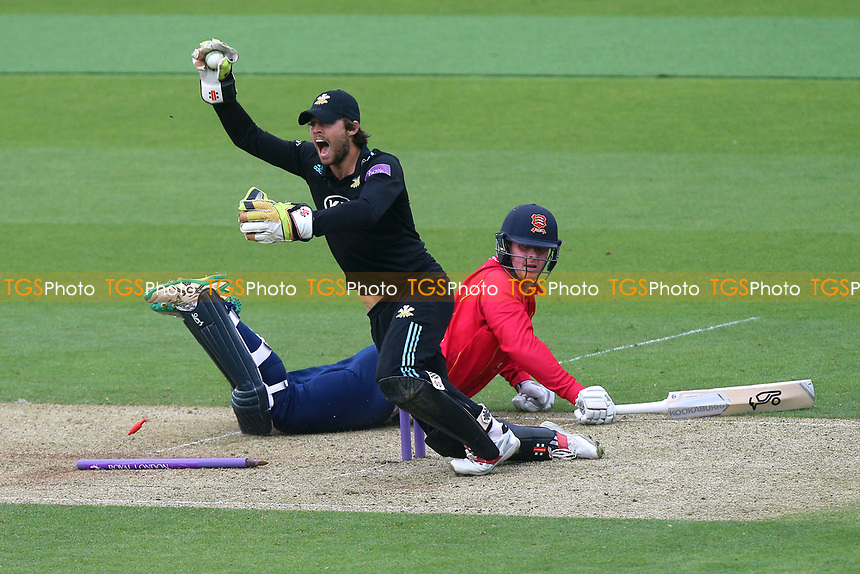Ben Foakes of Surrey appeals for the run out of Simon Harmer during Surrey vs Essex Eagles, Royal London One-Day Cup Cricket at the Kia Oval on 2nd May 2017