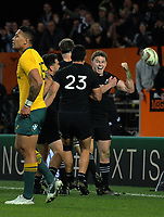 Beauden Barrett celebrates scoring the matchwinner during the Rugby Championship and Bledisloe Cup rugby match between the New Zealand All Blacks and Australia Wallabies at Forsyth Barr Stadium in Dunedin, New Zealand on Saturday, 26 August 2017. Photo: Dave Lintott / lintottphoto.co.nz