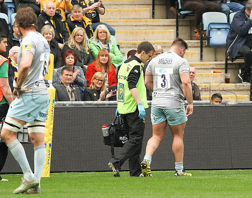 2016 Rugby Aviva Premiership Wasps v Northampton Saints Apr 3rd.  Saints prop Kieran Brookes leaves the pitch with a suspected head injury.