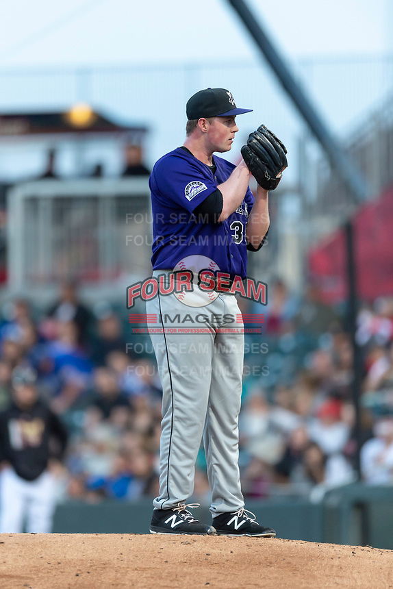 Albuquerque Isotopes starting pitcher Tim Melville (38) during a Pacific Coast League game against the El Paso Chihuahuas at Southwest University Park on May 10, 2019 in El Paso, Texas. Albuquerque defeated El Paso 2-1. (Zachary Lucy/Four Seam Images)