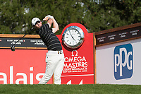 Rory Mcilroy (NIR) watches his tee shot on the 14th hole during second round at the Omega European Masters, Golf Club Crans-sur-Sierre, Crans-Montana, Valais, Switzerland. 30/08/19.<br /> Picture Stefano DiMaria / Golffile.ie<br /> <br /> All photo usage must carry mandatory copyright credit (© Golffile | Stefano DiMaria)