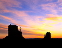 Blast of color just before sunrise in Monument Valley, Utah.