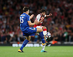 Arsenal's Mohamed Elneney tussles with Leicester's Harry Maguire during the premier league match at the Emirates Stadium, London. Picture date 11th August 2017. Picture credit should read: David Klein/Sportimage