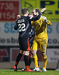 St Johnstone v Kilmarnock....09.01.16  Scottish Cup  McDiarmid Park, Perth<br /> Keeper Jamie MacDonald clebrates with Kevin McHattie at full time<br /> Picture by Graeme Hart.<br /> Copyright Perthshire Picture Agency<br /> Tel: 01738 623350  Mobile: 07990 594431