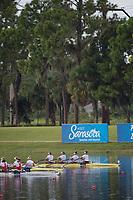 Sarasota. Florida USA. USA W4X. Bow.Elizabeth SONSHINE, Maureen MCAULIFFE, Kara KOHLER and Emily HUALSKAMO. Final A. 2017 World Rowing Championships, Nathan Benderson Park<br /> <br /> Saturday  30.09.17   <br /> <br /> [Mandatory Credit. Peter SPURRIER/Intersport Images].<br /> <br /> <br /> NIKON CORPORATION -  NIKON D4S  lens  VR 500mm f/4G IF-ED mm. 200 ISO 1/1250/sec. f 4