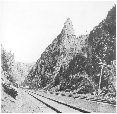 Curecanti Needle in Black Canyon.<br /> D&amp;RGW  Black Canyon, CO