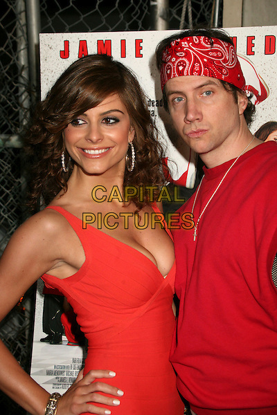 "MARIA MENOUNOS & JAMIE KENNEDY .""Kickin' It Old Skool"" Los Angeles Premiere Party at the Music Box Theatre, Hollywood, California, USA..April 25th, 2007.half length red bandana cleavage pink red peach top dress.CAP/ADM/BP.©Byron Purvis/AdMedia/Capital Pictures"