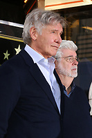 LOS ANGELES - MAR 8:  Harrison Ford, George Lucas at the Mark Hamill Star Ceremony on the Hollywood Walk of Fame on March 8, 2018 in Los Angeles, CA