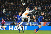 18th March 2018, King Power Stadium, Leicester, England; FA Cup football, quarter final, Leicester City versus Chelsea; Pedro of Chelsea heads the ball past Kasper Schmeichel of Leicester City and scores making it 1-2 in extra time