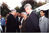 Israeli Prime Minister Binyamin Netanyahu, Palestinian Authority Chairman Yasser Arafat and United States President Bill Clinton during the Washington Summit at Wye River on Monday, October 19, 1998..Mandatory Credit: White House via CNP