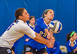 18 October 2015: Yeshiva University Maccabee Defensive Specialist and Outside Hitter Carol Jacobson (right), a Senior from Seattle, WA, and Libero Shaina Hourizadeh (left), a Junior from Englewood, NJ, both bump during game action against the College of Mount Saint Vincent Dolphins at the Peter Sharp Center, in Riverdale, NY. The Dolphins defeated the Maccabees 3-0 in the NCAA Division III Women's Volleyball Skyline matchup. Mandatory Credit: Ed Wolfstein Photo *** RAW (NEF) Image File Available ***