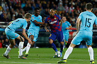 5th November 2019; Camp Nou, Barcelona, Catalonia, Spain; UEFA Champions League Football, Barcelona versus Slavia Prague;  Vidal surrounded by Preague defenders as Traore challenges - Editorial Use