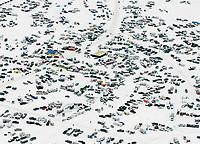 Helicopter aerial views of the 39th Annual International Eelpout Festival, at Leech Lake in Walker, Minnesota, February 24, 2018. Crowds that are more than 10 times the population of tiny Walker, Minn. (pop. 1,069) gather on Minnesota&rsquo;s third largest lake (112,000-acres), Leech Lake, for a festival named for one of the ugliest bottom-dwelling fish, the eelpout.<br /> <br /> Photo by Matt Nager