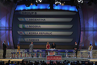 Group B is shown on the display during the FIFA Final Draw for the FIFA World Cup 2010 South Africa held at the Cape Town International Convention Centre (CTICC) on December 4, 2009.