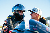 Jul 26, 2019; Sonoma, CA, USA; NHRA pro stock motorcycle rider Jianna Salinas (left) with Karen Stoffer during qualifying for the Sonoma Nationals at Sonoma Raceway. Mandatory Credit: Mark J. Rebilas-USA TODAY Sports