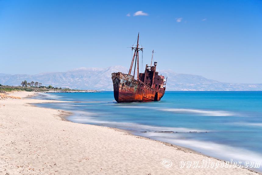 Shipwreck near to Gytheio in Laconia, Greece