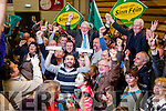 Martin Ferris celebrates with his supporters after being elected at the Kerry General Election Count in Killarney.