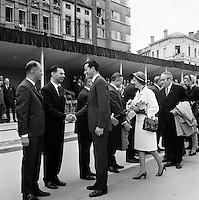 Juni 1969. Opening tunnel.  31 mei 1969. Feestelijke opening van de Kennedytunnel in Antwerpen.  Koning Boudewijn en Koningin Fabiola met Leo Tindemans.