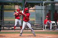 Los Angeles Angels shortstop Juan Moreno (6) at bat during an Extended Spring Training game against the Chicago Cubs at Sloan Park on April 14, 2018 in Mesa, Arizona. (Zachary Lucy/Four Seam Images)