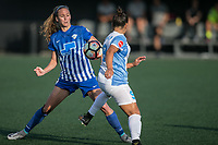 Allston, MA - Saturday August 19, 2017: Julie King, Camila Martins Pereira during a regular season National Women's Soccer League (NWSL) match between the Boston Breakers and the Orlando Pride at Jordan Field.