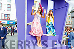 Kerry Rose, Sally-Ann Leahy and the Dublin Rose, Laura Vines salute the crowd at the Rose Parade on Sunday.