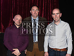 Ian Taaffe Vice Chairperson, David King Chairperson and Shane Darby Secretary pictured at St Kevin's GAA Club annual awards night in Phillipstown community centre. Photo:Colin Bell/pressphotos.ie