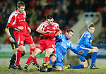 St Johnstone v Brechin....22.03.11  Scottish Cup Quarter Final replay.Craig Molloy and Peter MacDonald.Picture by Graeme Hart..Copyright Perthshire Picture Agency.Tel: 01738 623350  Mobile: 07990 594431