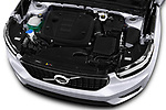 Car stock 2019 Volvo XC40 R-Design 5 Door SUV engine high angle detail view