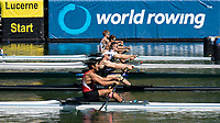 """Lucerne, SWITZERLAND, 12th July 2018, Friday, """"Start Area"""", Heat of the """"Lightweight Men's Single Sculls"""", Middle GBR LM 1X, Samual MOTTRAM,  FISA World Cup series, No.3, Lake Rotsee, Lucerne, © Peter SPURRIER,"""
