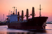 The silhouette of a cargo ship in a shipping channel.