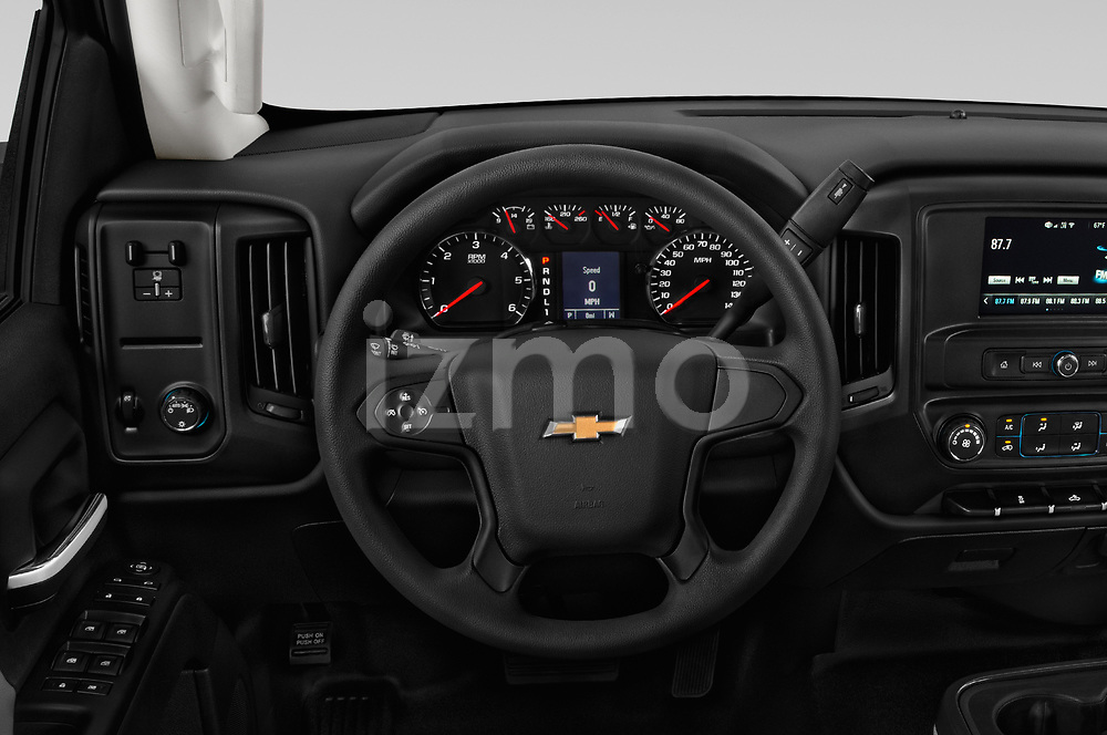 Car pictures of steering wheel view of a 2018 Chevrolet Silverado 2500HD Work Truck Long Box Double Cab 4 Door Pick Up