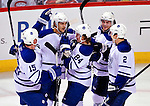 10 April 2010: Toronto Maple Leafs celebrate their game tying goal in the first period against the Montreal Canadiens at the Bell Centre in Montreal, Quebec, Canada. The Maple Leafs defeated the Canadiens 4-3 in sudden death overtime. Mandatory Credit: Ed Wolfstein Photo