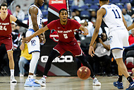 Washington, DC - MAR 10, 2018: Saint Joseph's Hawks guard Nick Robinson (5) plays defense against Rhode Island Rams guard Jeff Dowtin (11) during semi final match up of the Atlantic 10 men's basketball championship between Saint Joseph's and Rhode Island at the Capital One Arena in Washington, DC. (Photo by Phil Peters/Media Images International)