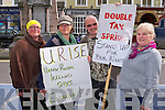 Protesting against the household charge in Tralee on Saturday l-r: Birgit Tol, Maria O'Connor, Mike Dolan and Sheila Duggan.