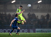 Bolton Wanderers' Ethan Hamilton heads under pressure from Rochdale's Jimmy Ryan (left) <br /> <br /> Photographer Andrew Kearns/CameraSport<br /> <br /> The EFL Sky Bet League One - Rochdale v Bolton Wanderers - Saturday 11th January 2020 - Spotland Stadium - Rochdale<br /> <br /> World Copyright © 2020 CameraSport. All rights reserved. 43 Linden Ave. Countesthorpe. Leicester. England. LE8 5PG - Tel: +44 (0) 116 277 4147 - admin@camerasport.com - www.camerasport.com