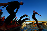 CHATTANOOGA, TN - SEPTEMBER 9:  Women triathletes enter the swim course during the the Women's IRONMAN 70.3 St. World Championships on September 9, 2017 in Chattanooga, Tennessee. (Photo by Donald Miralle for Ironman)