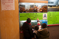 Children watch live lobsters for sale in the busy food court of the New World Mall in the Flushing neighborhood of Queens in New York on Saturday, November 24, 2012.   Flushing, is considered one of the most diverse communities in New York, home to Asian, Indian, Jewish, Irish and other populations. (© Richard B. Levine)