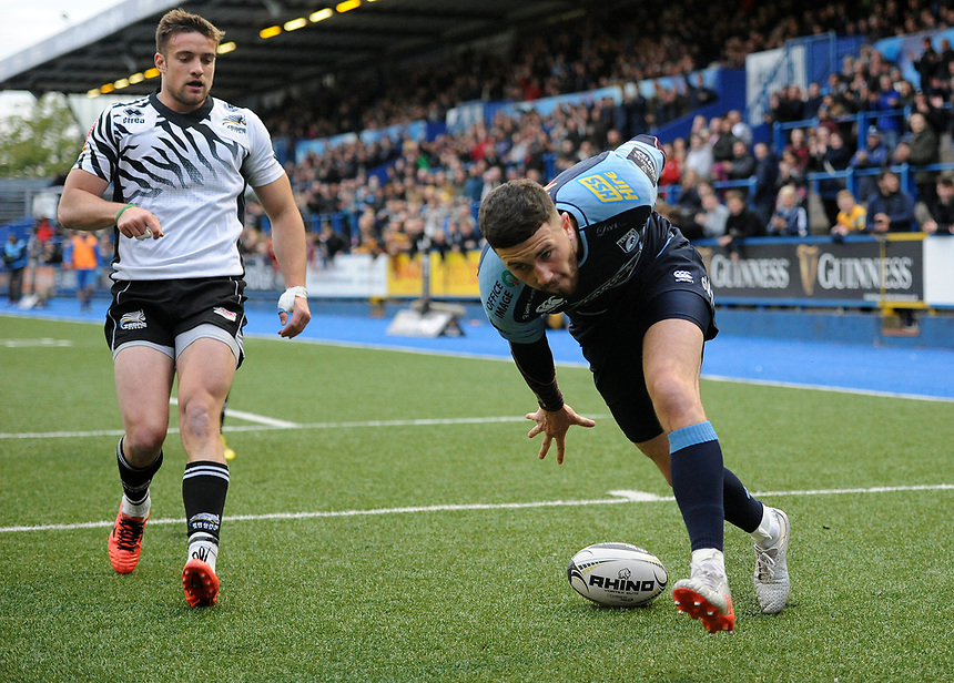 TRY - Cardiff Blues' Aled Summerhill scores his sides second try<br /> <br /> Photographer Ashley Crowden/CameraSport<br /> <br /> Guinness PRO12 Round 21 -  Cardiff Blues and Zebre Rugby - Friday April 28 2017 - Cardiff Arms Park - Cardiff<br /> <br /> World Copyright &copy; 2017 CameraSport. All rights reserved. 43 Linden Ave. Countesthorpe. Leicester. England. LE8 5PG - Tel: +44 (0) 116 277 4147 - admin@camerasport.com - www.camerasport.com