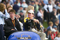 Ryder Cup 206 K Club, Straffin, Ireland...European Ryder Cup Vice Captain Des Smyth (R) with his son and Wife Vickey following the  morning fourballs session of the second day of the 2006 Ryder Cup at the K Club in Straffan, Co Kildare, in the Republic of Ireland, 23 September 2006...Photo: Eoin Clarke/ Newsfile.