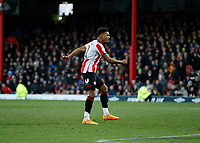 8th February 2020; Griffin Park, London, England; English Championship Football, Brentford FC versus Middlesbrough; Ollie Watkins of Brentford shoots to score his sides 3rd goal in the 87th minute to make it 3-2 - Strictly Editorial Use Only. No use with unauthorized audio, video, data, fixture lists, club/league logos or 'live' services. Online in-match use limited to 120 images, no video emulation. No use in betting, games or single club/league/player publications