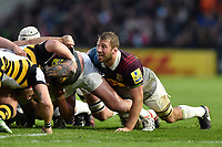 Chris Robshaw of Harlequins in action at a scrum. Aviva Premiership match, between Harlequins and Wasps on April 28, 2017 at the Twickenham Stoop in London, England. Photo by: Patrick Khachfe / JMP