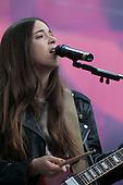 Haim - Danielle Haim - performing live  at the Sound of Change Live concert held at at Twickenham Stadium, Surrey UK - 01 Jun 2013.  Photo credit: John Rahim/Music Pics Ltd/IconicPix