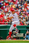 3 April 2017: Washington Nationals first baseman Ryan Zimmerman in action against the Miami Marlins on Opening Day at Nationals Park in Washington, DC. The Nationals defeated the Marlins 4-2 to open the 2017 MLB Season. Mandatory Credit: Ed Wolfstein Photo *** RAW (NEF) Image File Available ***