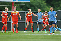 Piscataway, NJ - Saturday July 09, 2016: Amber Brooks, Cari Roccaro, Tasha Kai, Raquel Rodriguez during a regular season National Women's Soccer League (NWSL) match between Sky Blue FC and the Houston Dash at Yurcak Field.