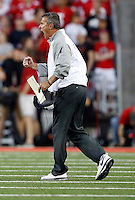 Ohio State Buckeyes head coach Urban Meyer yells at his offense during the second quarter of the NCAA football game against the Cincinnati Bearcats at Ohio Stadium in Columbus on Sept. 27, 2014. (Adam Cairns / The Columbus Dispatch)