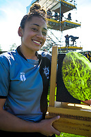 St Mary's captain Dhys Faleafaga with the trophy after the 2017 1st XV rugby Top Four girls' final between St Mary's College and Hamilton Girls' High School at Sport and Rugby Institute in Palmerston North, New Zealand on Sunday, 10 September 2017. Photo: Dave Lintott / lintottphoto.co.nz