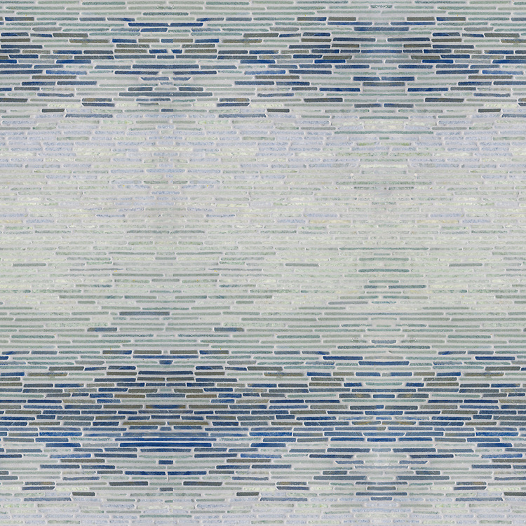 Mist Tatami, a hand-cut stone mosaic, shown in Tumbled Blue Macauba, Kay's Green, Ming Green, and Celeste.