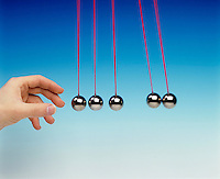 NEWTON TOY PENDULA: COLLISION EXPERIMENT<br /> Newton's Third Law<br /> (7 of 8 - Variations Available)<br />  Conservation of Momentum<br /> Two pendula bobs used as a projectile collides with three other pendula bobs displacing two pendula bobs equal to the original displacement of the projectile bob.