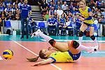 28.04.2018, SCHARRena, Stuttgart<br />Volleyball, Bundesliga Frauen, Play-offs, Finale 3. Spiel, Allianz MTV Stuttgart vs. SSC Palmberg Schwerin<br /><br />Abwehr Beta Dumancic (#11 Schwerin)<br /><br />  Foto &copy; nordphoto / Kurth